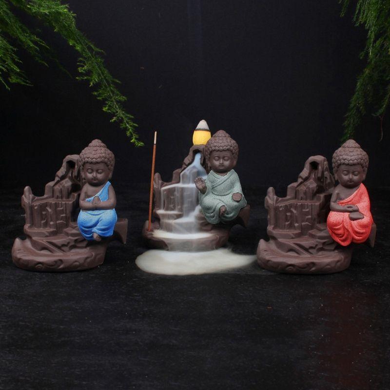 Ceramic Buddha Handicraft Smoke Backflow Cone Censer Holder Incense Burner Gift Incense Burners calm nerves Fresh air Home Decor