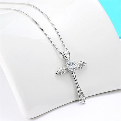925 Sterling Silver Notre Dame De Paris Angel Wings Cross Pendant Necklaces for Women Men Statement Jewelry DHL