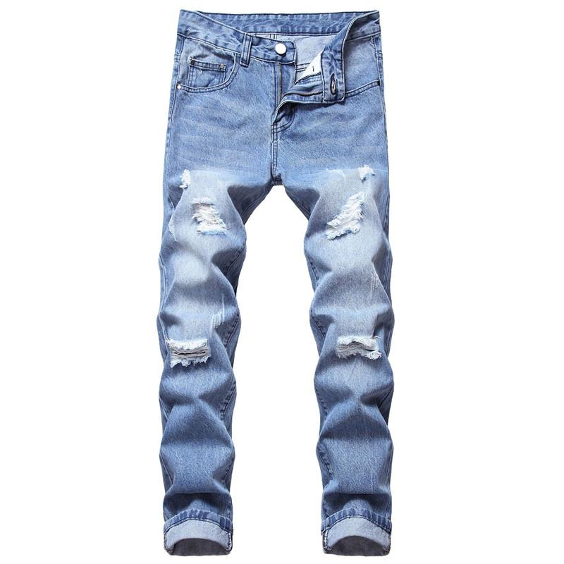 Compre 2020 Nuevo Diseno Para Hombre Pantalones Vaqueros Azules Tubo Recto Pantalones De Mezclilla De Algodon Delgado Agujero Pantalones Para Hombre A 23 62 Del Designeryou Dhgate Com
