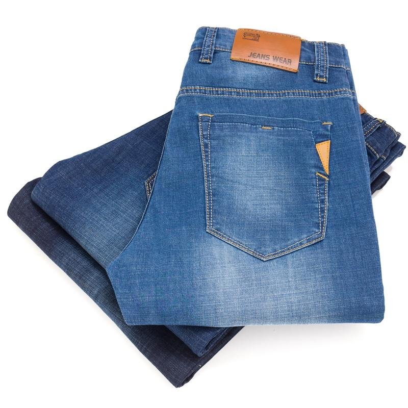 2019 do New Men Verão Fina Luz Jeans Negócios Casual estiramento magros jeans calças masculinas da marca Calças de alta qualidade