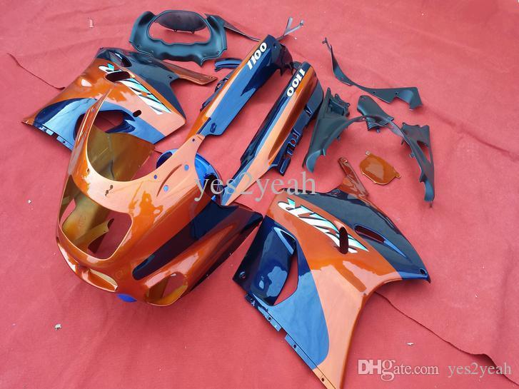 Benutzerdefinierte Verkleidung Kit für Kawasaki ZZR1100 93 97 99 00 01 03 ZX11 1993 2001 ZZR1100D Orange Blue Fairing Set + 7Gesibs ZD90