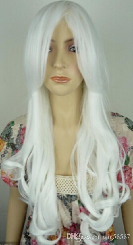 WIG free shipping Lolita Wine white Long Curly Wave Hair Full Cosplay Wig Sexy Party Wigs