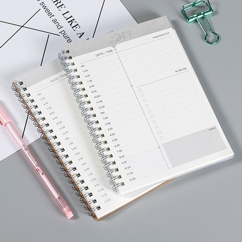 Manual time planning notebook agenda journal daily week month planner 32K kraft paper cover work efficiency weekly and monthly book