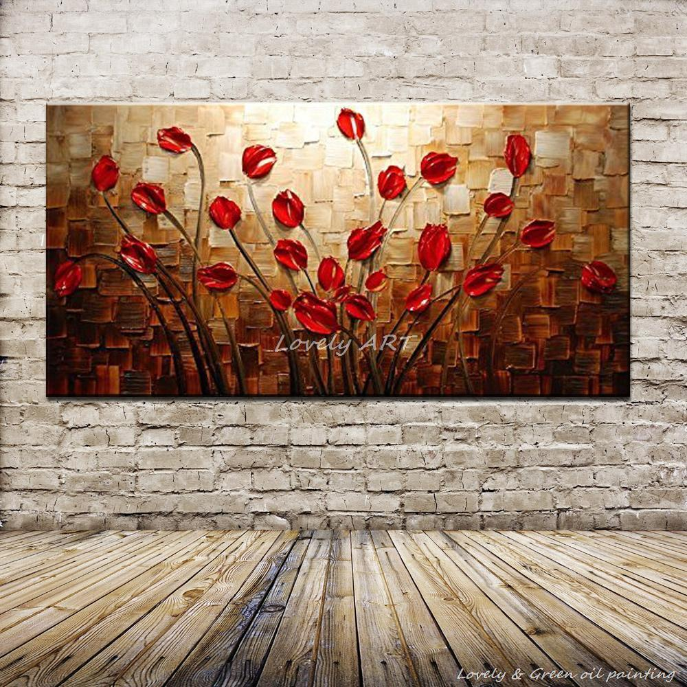 Mintra Large Size Hand Painted Textured Palette Knife Red Flower Oil Painting Abstract Modern Canvas Wall Art For Living Room Decor Picture