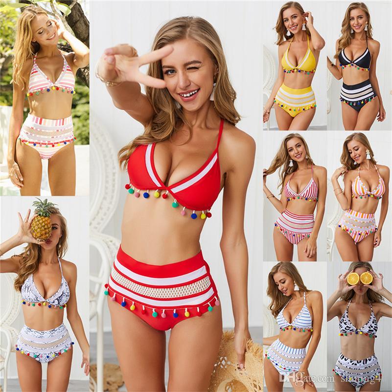 2019 Date Halter Maillot De Bain Maillot Patchwork Sports Nautiques Vêtement Femmes Maillot De Bain Gland Taille Haute Bikini Ensembles