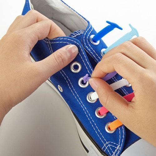 16pcs Yeni Elastik Yok Tie Kilitleme Shoelaces Trainer Atletik Sneaks ayakkabı bağları Running