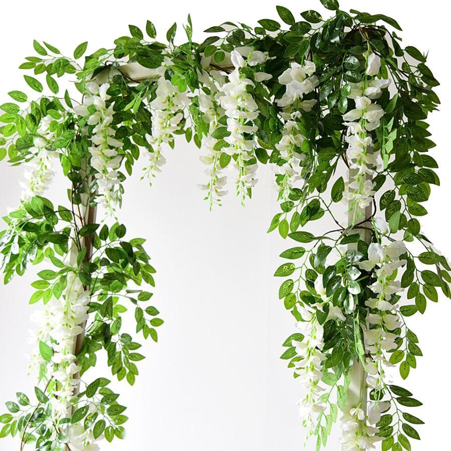 2M 등나무 인공 꽃 덩굴 화환 웨딩 아치 장식 가짜 식물 단풍 등나무 후행 가짜 꽃 아이비 벽