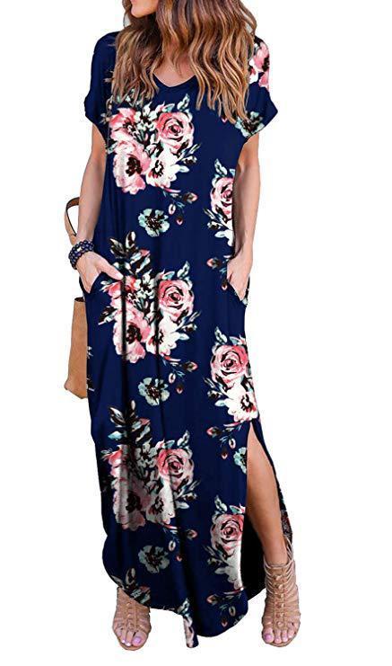 Ladies Short Sleeve Long Slit Dress Top Selling Blank Knitted T Shirt Casual Dress Summer V Collar Women Maxi Printed Dress