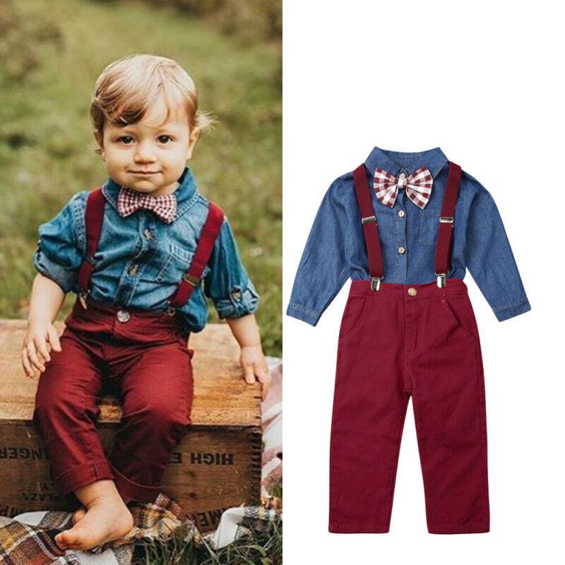 Red pants Kids Clothes suit 2Pcs//Set Toddler  Kids Baby Boys Outfits Denim Tops