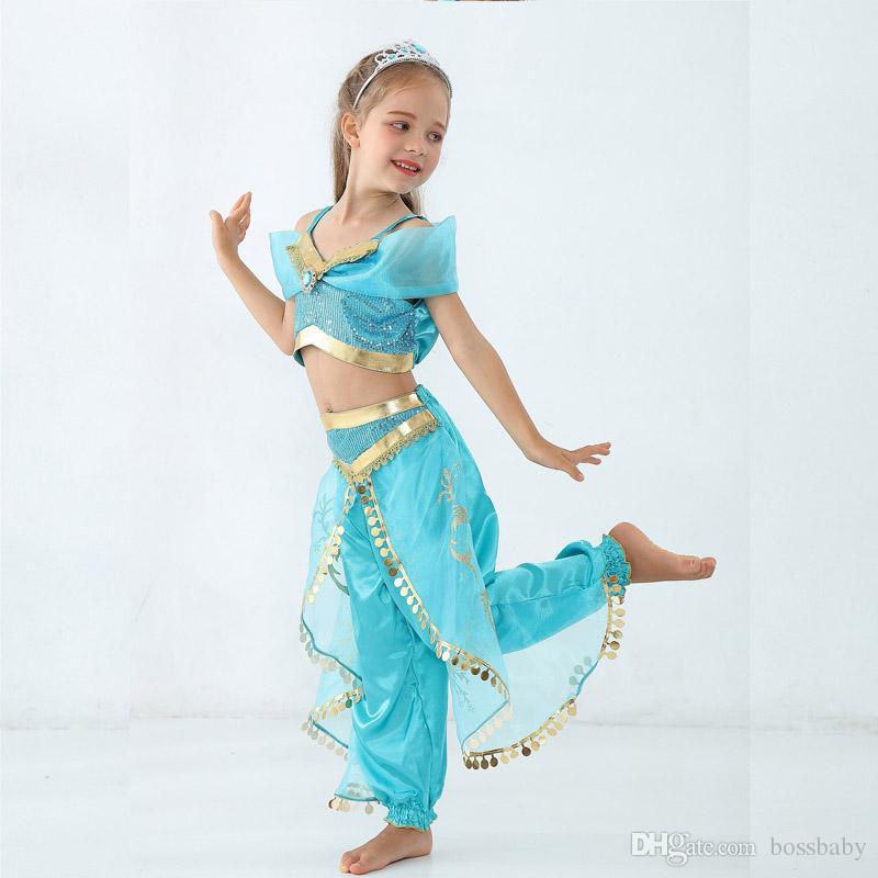 Детский сценический костюм принцессы Волшебная лампа Детский танец живота Индия Танцевальная одежда с блестками Почтовая ролевая игра сценический костюм