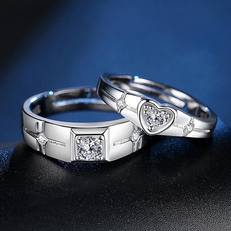 Изящные серебряные сердца влюбленности кольца для женщин Мужчины Классический Цирконий Обручальное Свадебные кольца пара ювелирных изделий подарок