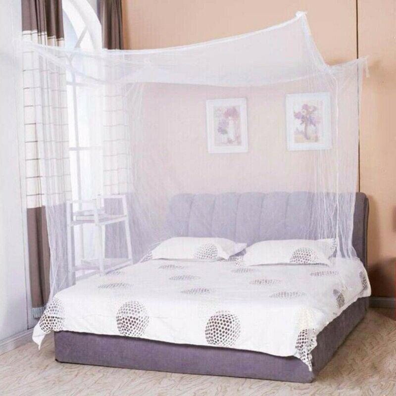 Rede completa do fundamento da rainha do gêmeo do dossel da cama do cargo da rede de mosquito 4 do canto