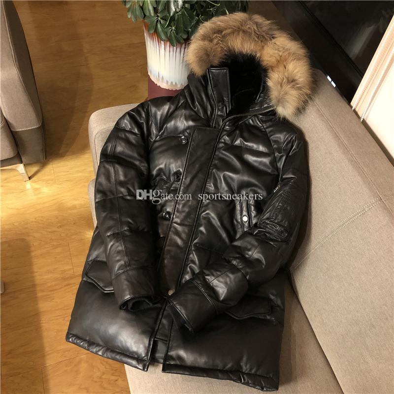 N3B volant costume mouton cuirs souples parkas longues à capuche avec col de fourrure de raton laveur épais et chaud manteau de duvet