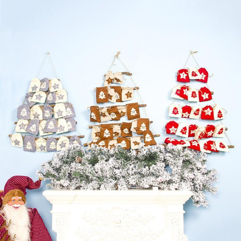 Christmas Countdown Calendar Висячие стойки с Ткань для хранения сумка Праздничную партии Поставки Рождество Гобелен Декор