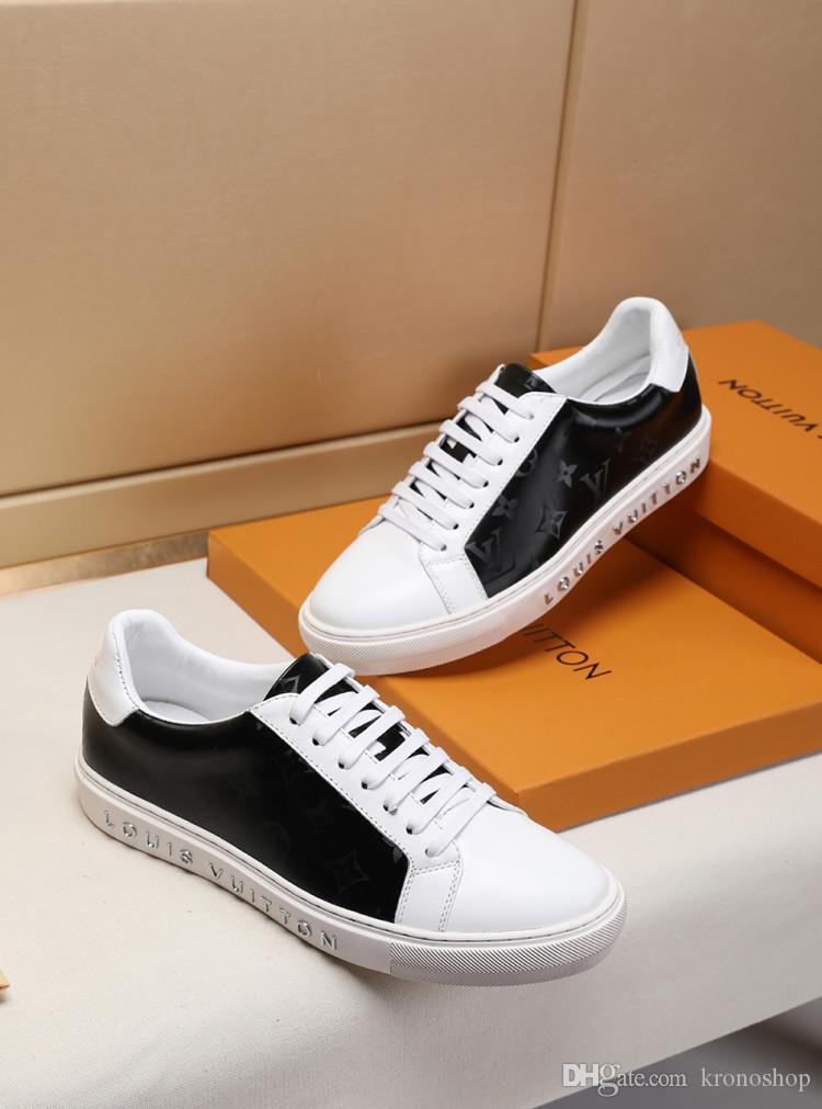 Nouvelle liste des chaussures de sport sauvage de la personnalité des hommes, Low Flat Top Mens Casual Shoes Leathe Imprimé hommes occasionnels chaussures de sport 38-46 0037