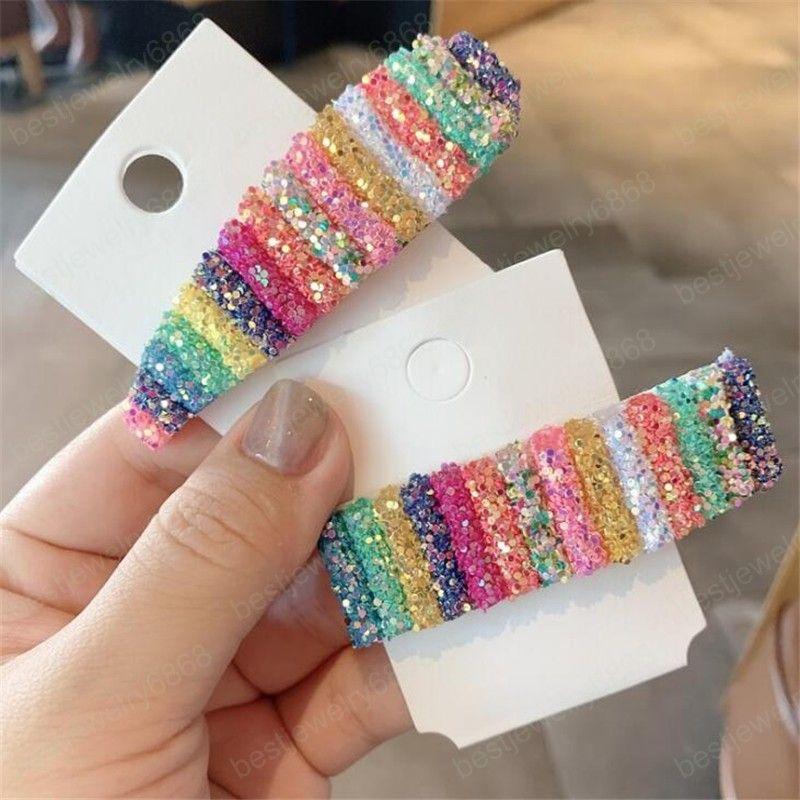 Koreanischen Stil Glänzende Pailletten Frauen Mädchen Mode Haarspangen Accessoreis Chic Regenbogen Candy Farbe Headwear Haarnadeln