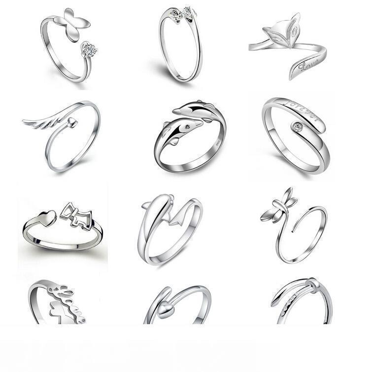 Ayarlanabilir Yüzük Açılış The Angel Aşk Fox Kelebek 925 Gümüş yüzükler Yunuslar Dragonfly Wings kaplama 2018 Sıcak satış