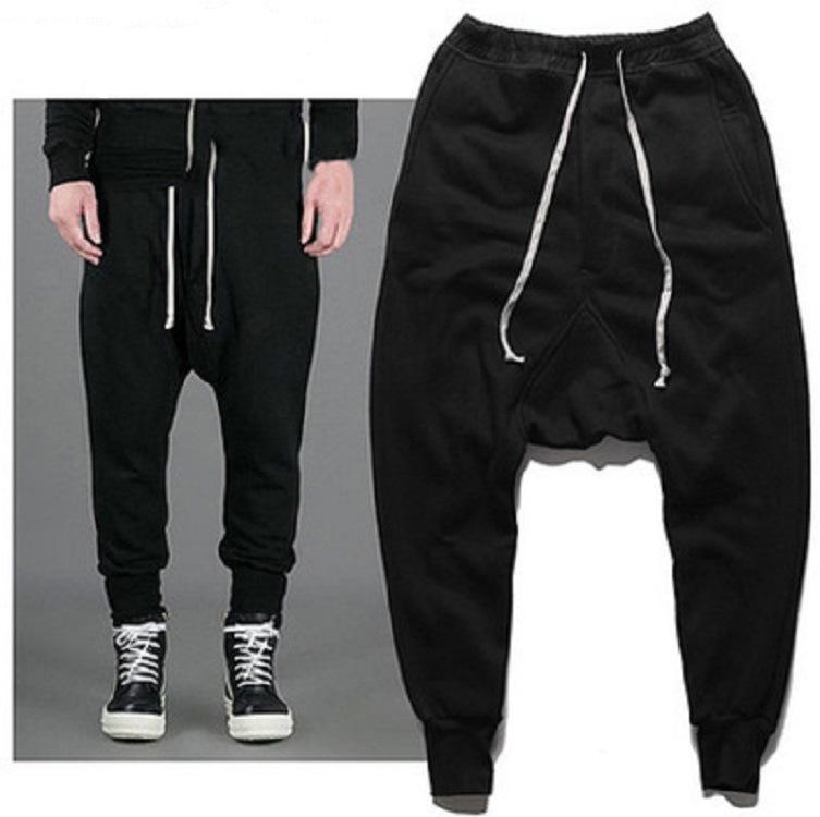 Harem Pants preto cheio do comprimento Hip Hop calças dos homens Outono Primavera Homens Streetwear Toursers Men Tamanho S-3XL fz0112