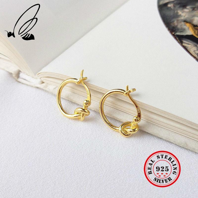 حبل جولة عقدة هوب أقراط للنساء 925 فضة الخواتم الذهب الأوروبي اللون الأزياء والمجوهرات بيجو فام Aretes küpe