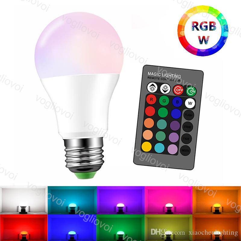 LED Bulb E27 RGBW 3W5W10W15W Lamp With Memory 24key Controller 85~265V 16 Color Multicolor Global Light For Christmas Halloween Home Party