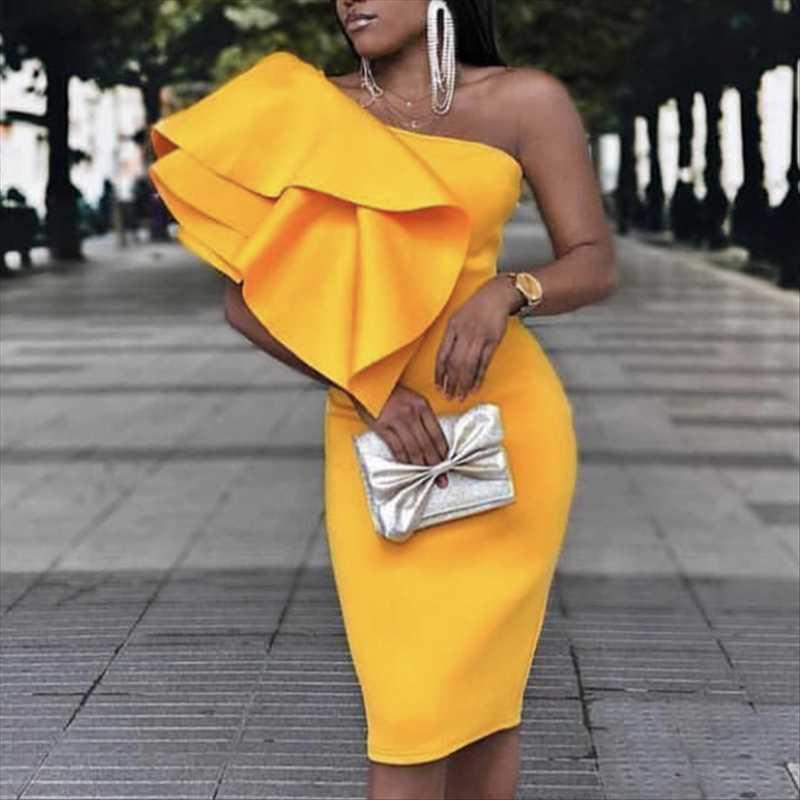 Женщины Желтого платье партии одно плеча Нерегулярных оборки Sexy Знакомства УЖИН Clubwear Тонкого Bodycon Femme пакет Hip Одеяния