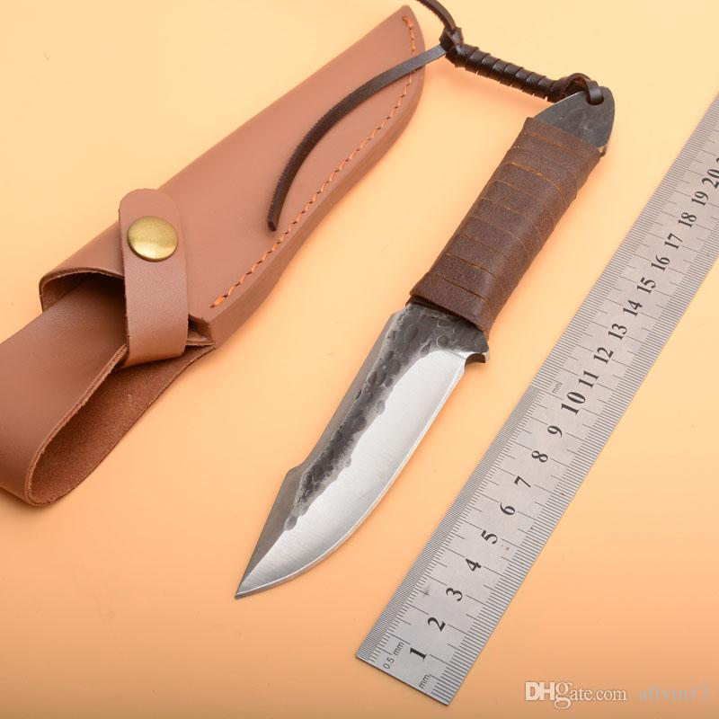 High Quality Survival Straight Hunting Knife High Carbon Steel Drop Point Blade Full Tang Handle Knives With Leather Sheath