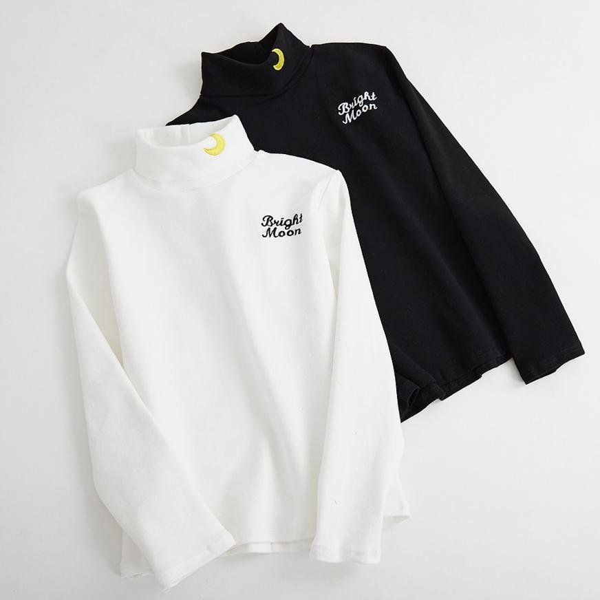 2019 ulzzang harajuku shirt korean style spring autumn vintage cute funny embroidery moon letter long-sleeved t-shirt women tops