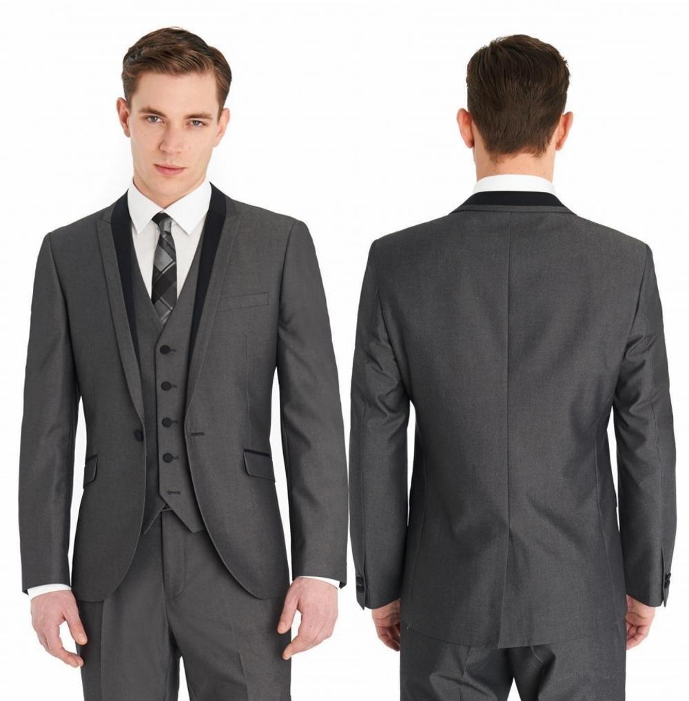 Damat smokin Groomsmen Bir Düğme Gri Tepe Yaka Best Man Suit Düğün Mens Blazer Suit Custom Made (Ceket Pantolon Yelek Tie)