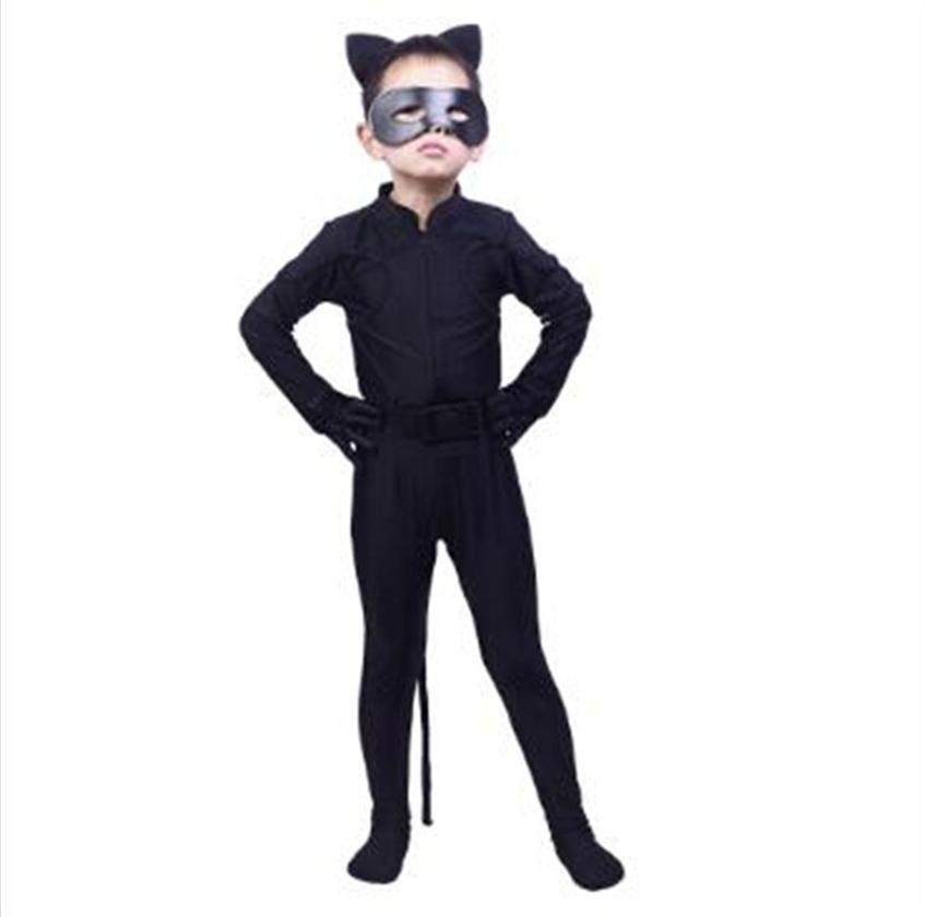 Hot Black Cat Coccinelle Big Vêtements fille Prêt Costumes Cartoon Dress Up Halloween cosplay perruque enfants scène rôle poches Masque pour les yeux
