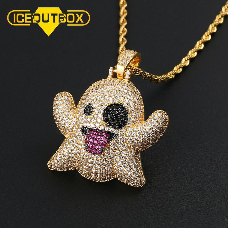 Bling Cubic Zircon Ghost Pendant Necklace Gold With 4mm Tennis Chain Men's Hip Hop Jewelry Hollow Back Fashion Necklace For Gift