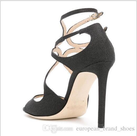 Neue Art von hohlem dünner hohen Ferse zweireihig Silber grün fluoreszierend Dame Mode Sandalen