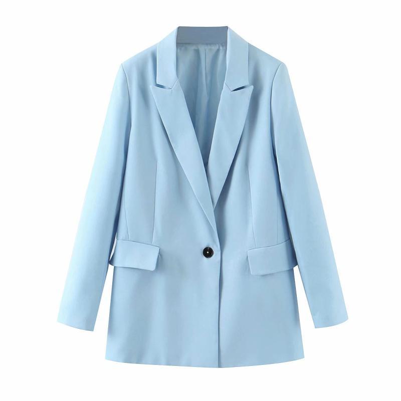 Элегантные женщины теряют голубые блейзеры 2020 модных женских куртки зубчатых воротника костюмов случайной длинного рукава куртка девушка шикарной