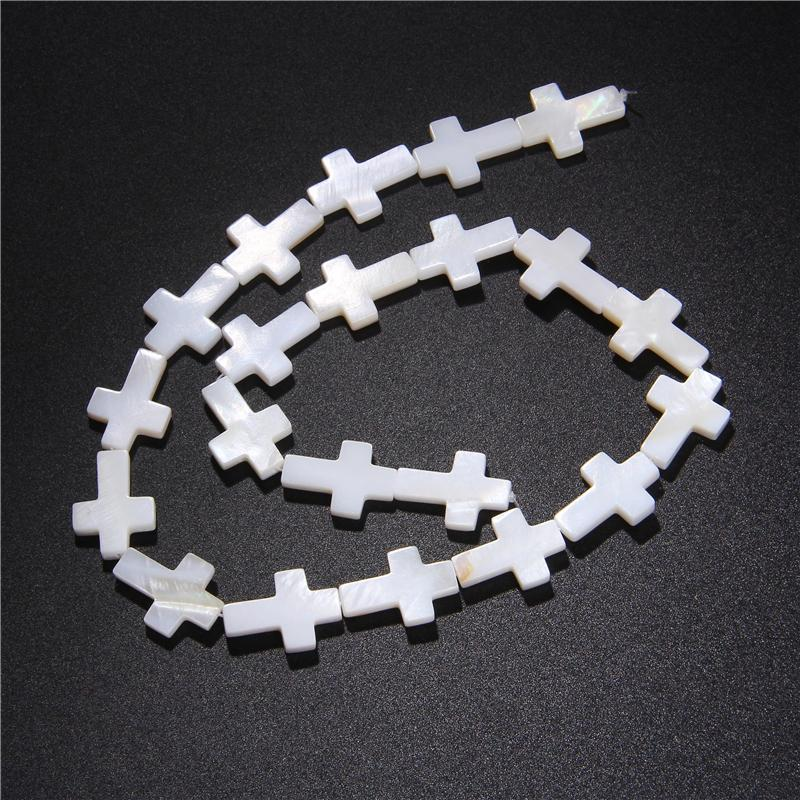 White Natural Mother of Pearl Shell crucifix shapes Beads shell Strand Mother Pearl