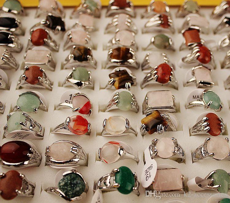 Arbeiten Sie heißen Verkauf Naturstein-Silber überzogene Ringe für Frauen Art und Weise Zargenfassung Großhandelsschmucksachen Groß Ring Lots freies Verschiffen