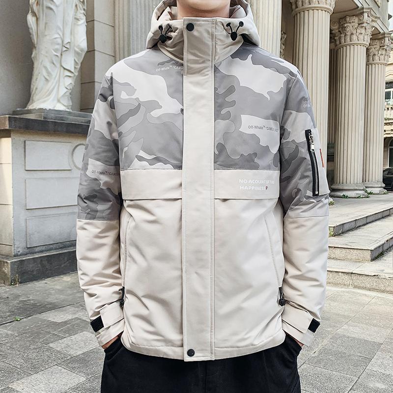 BROWON Inverno Uomo chiusura lampo del rivestimento degli uomini cappotto mimetico tenere in caldo spessi Giacche Uomini Cappotti 2020 Giaccone Per