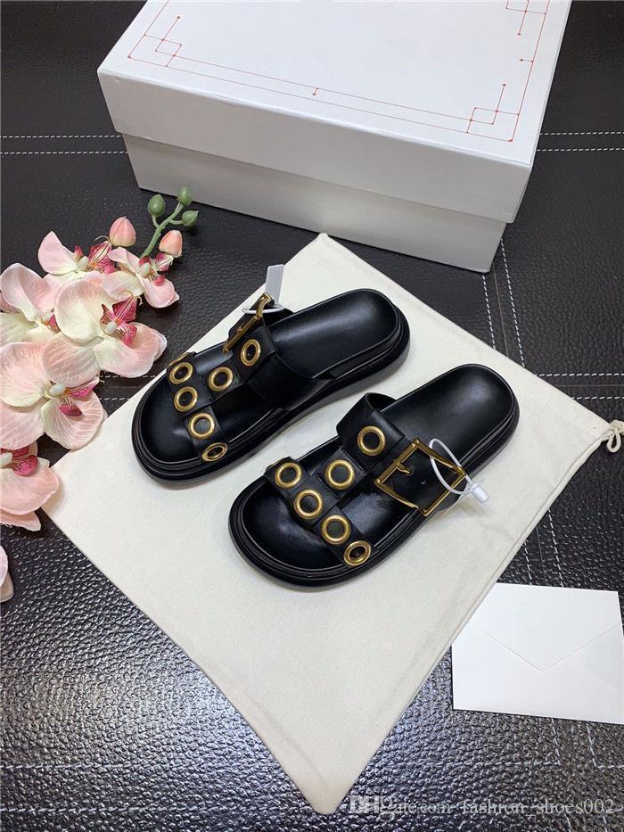 Summer 2020 para mujer de ida y dirigieron zapatillas abrir-punta fideos piel de vaca metálicos con vacío suela tamaño 35-40