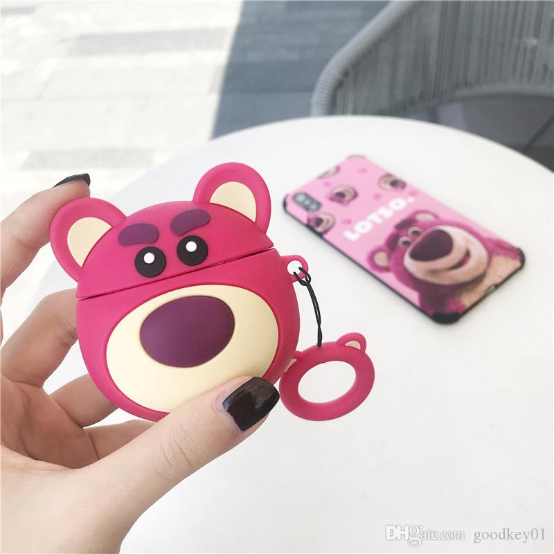 2020 For Airpods Cute Bear Earphone Case Finger Ring Silicone