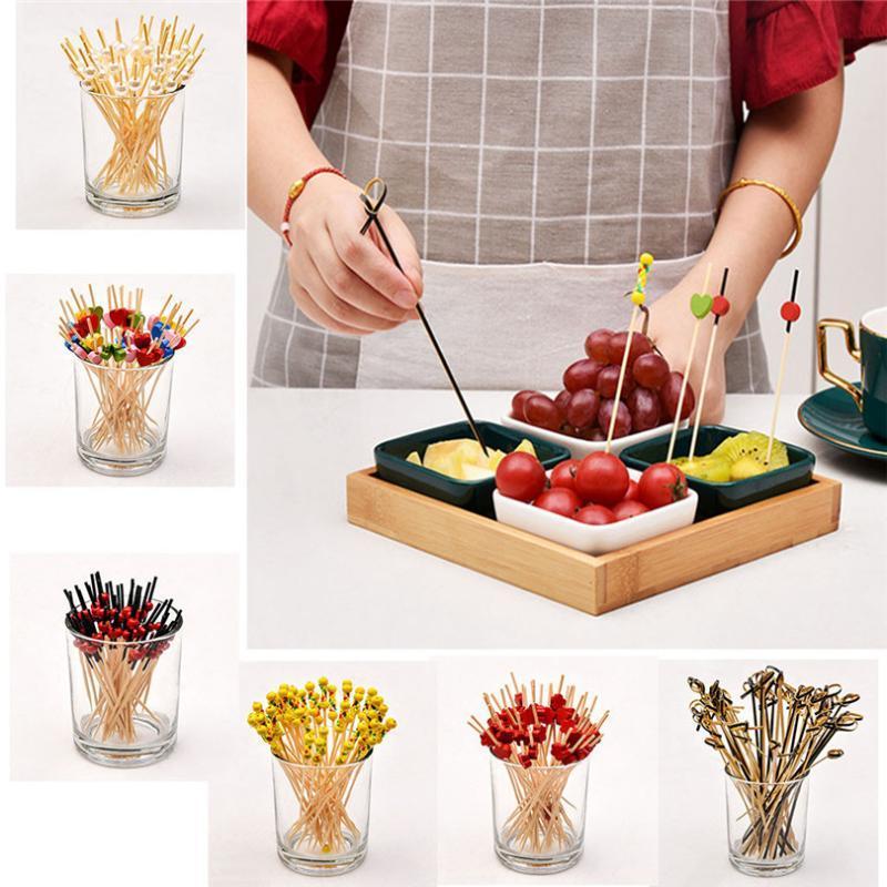 100pc fruta desechables de bambú Recogida Comida fría del cóctel del partido Tenedor Postre de la fruta palillo de brocheta decoración signo tenedor # 3D11