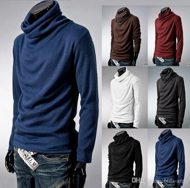 Al por mayor del suéter de cuello alto super tamaño grande de los hombres del fresco de rotación de cuello camisa para hombre de la rebeca ultrafina de base para hombre con capucha