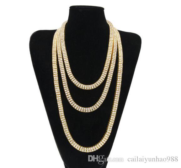 Homens 18k banhado a ouro água diamante 2 fila colar hiphop jóias colar 24 polegadas