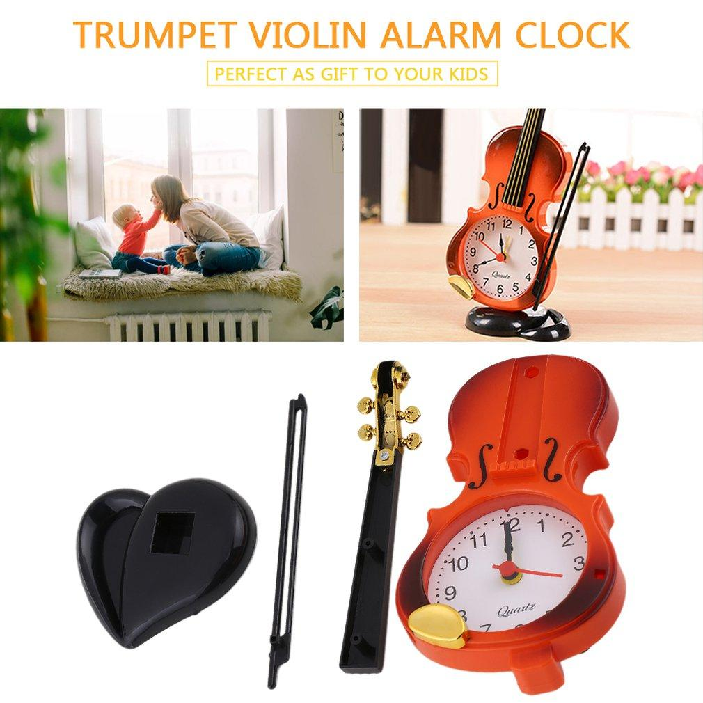 2017 Новый 2 цвета Творческий инструмент Настольные часы Student Violin Gift Home Decor Fiddle Кварцевый Будильник Стол Пластиковые ремесла