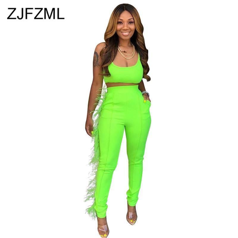Неоновый зеленый перо Сплайсированные из двух частей набор женщин спагетти ремень спинки растениеводство топ и Bodycon брюки спортивные костюмы 2 шт. клубные наряды