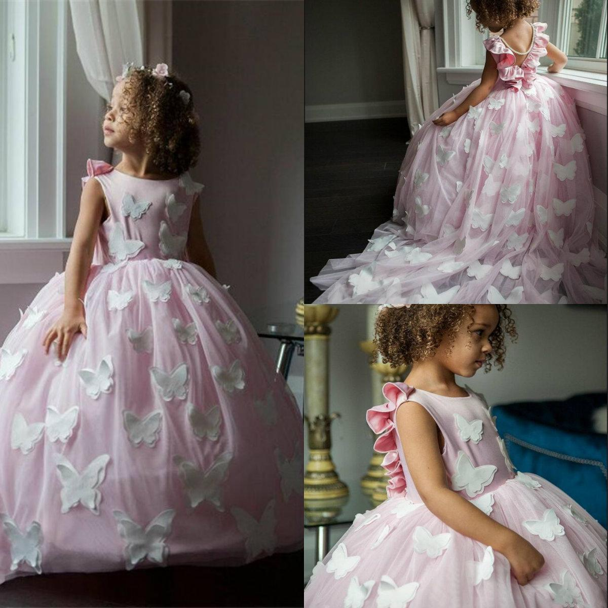 2020 Cute Flower Girl Dresses Jewel Neck Butterfly Appliqued Sleeveless Girl Pageant Gowns Backless Ruffle Sweep Train Birthday Gowns
