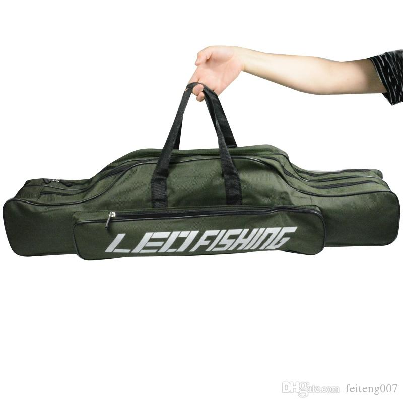 80cm Portable Foldable Double Layer Canvas Fishing Rod Bag Fishing Tackles Bag Pole Tools Reel Gear Carrier Storage Case #361818
