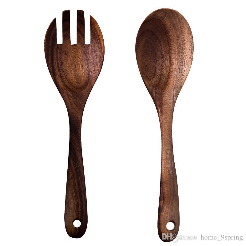 2Pcs Large Wooden Spoon Fork Set Long Handle Kitchen Spoon Premium Wooden Serving Spoons Salad Spoon Fork Set Salad Server Wooden Utensils