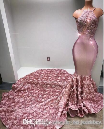 Cascading Ruffles Rose Pink Long Prom Dresses Halter Sexy Back Rose Flower Sweep Train Appliques Beaded Sequined Mermaid Evening Dress 2019
