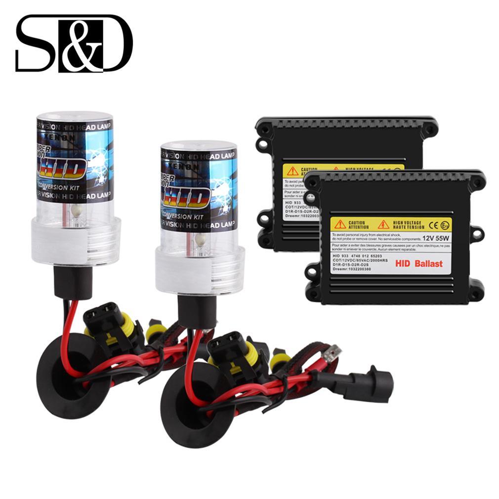Xenon Hid Dönüşüm Kiti H7 H11 H1 H3 9005 9006 880 881 H8 H9 HB3 HB4 Ampul Araç Işık Otomatik Far / W İnce Balast 55W D030