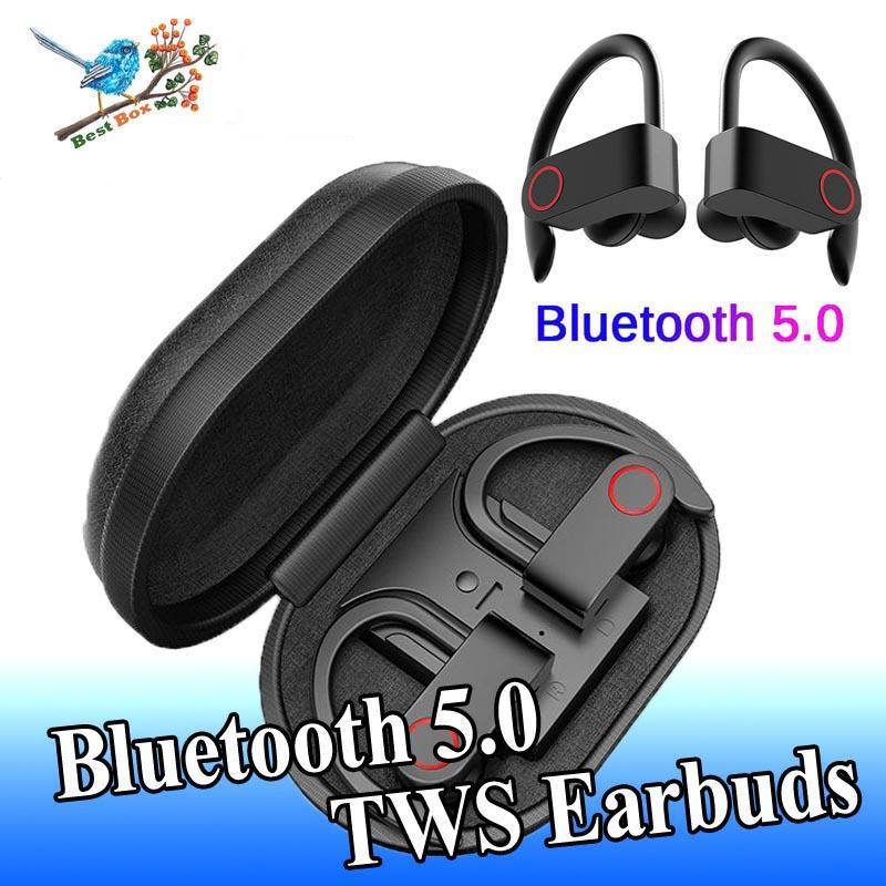 TWS Bluetooth 5,0 auriculares A9 deportes auriculares con gancho para la oreja auriculares inalámbricos IPX7 impermeable HIFI Bass auriculares Cancelación de ruido