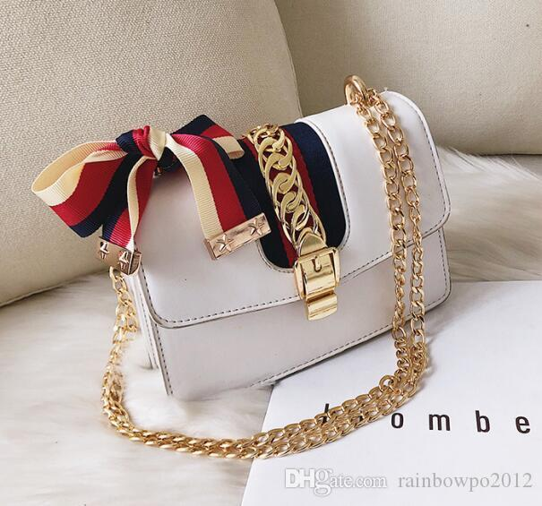 sales brand women handbag Europe and America atmospheric contrast ribbon shoulder bag sweet bow women hand bag fashion shoulder bag