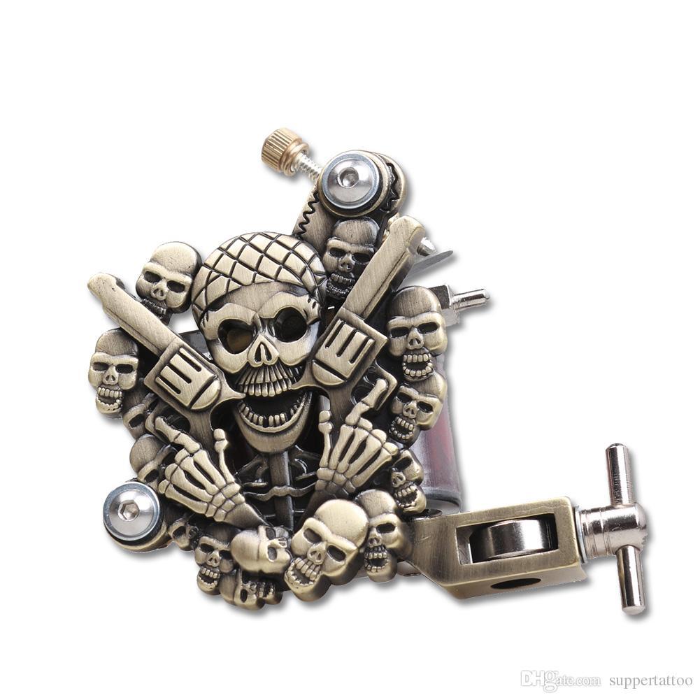 Mosiężna czaszka Empagistyczna maszyna do tatuażu do liniowej i cieniowania 10 Cewki